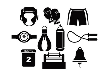 Black Silhouette Boxing Vectors - Free vector #426521
