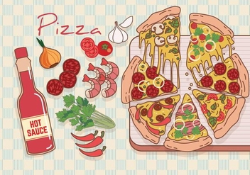 Pizza Ingredients Vector - vector gratuit #426691