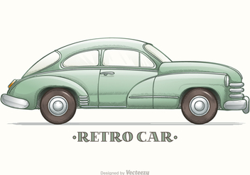 Colored Hand Drawn Sketch Retro Car Vector - Kostenloses vector #426701