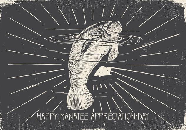 Vintage Manatee Appreciation Day Illustration - Free vector #427281