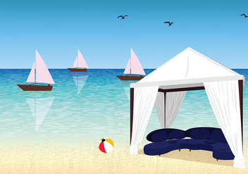 Cabana Sunny Day Free Vector - Free vector #427471