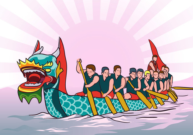 Dragon Boat Race Background Vector - Free vector #427641