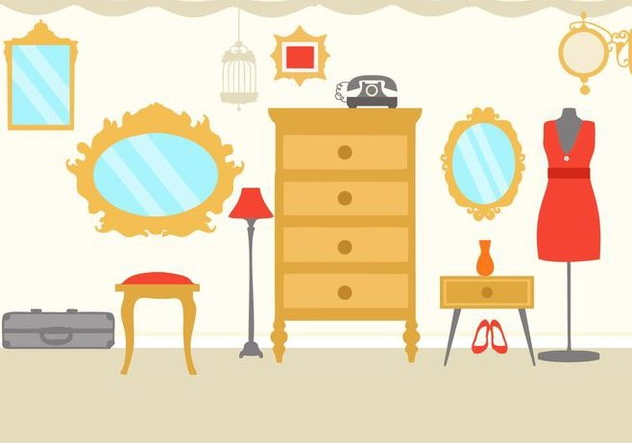Free Interior Vintage Dressing Room Vector - vector gratuit #427651