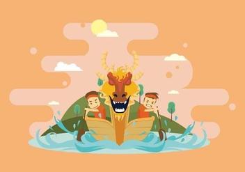 Fun Dragon Boat Race Illustration - vector #427681 gratis