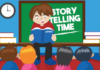 Kids' Story Telling Illustration - vector gratuit #427741