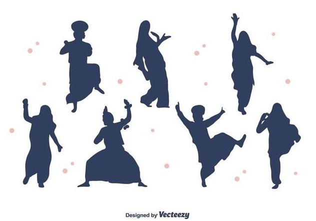 Bhangra Dancers Silhouette Vector - vector gratuit #427751