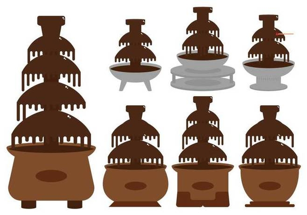 Chocolate fountain illustration set - Free vector #427771