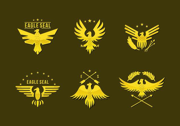 Gold Pin Eagle Seal Logo Flat Vector - vector gratuit #427801