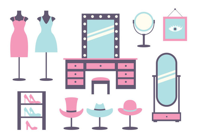 Pink and Blue Dressing Room Icons - Free vector #427811