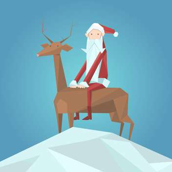 Vector illustration of Santa Claus in red hat sitting on reindeer on blue background - Free vector #125741