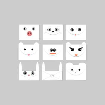 Vector illustration set of envelopes with cute animal faces on grey background - vector gratuit #125781