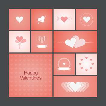 Vector illustration of greeting cards with hearts for Valentine's Day - vector gratuit #125811