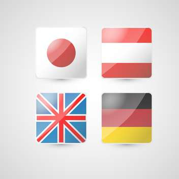 Vector illustration set of four colorful flags on white background - Free vector #125821