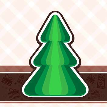 Vector illustration of holiday background with green christmas tree - vector gratuit #125831