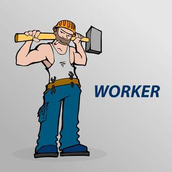 Vector illustration of cartoon worker with cigarette and hammer in hands on grey background - vector gratuit #125841