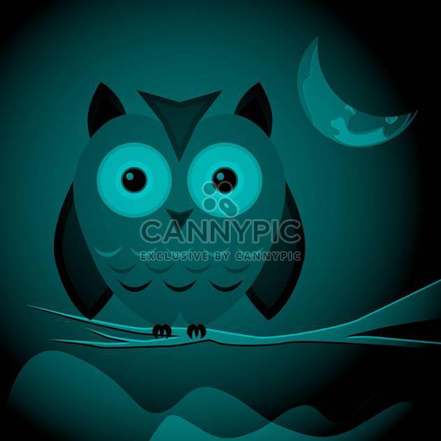 Vector illustration of wild owl sitting on branch on dark night background - Free vector #125901