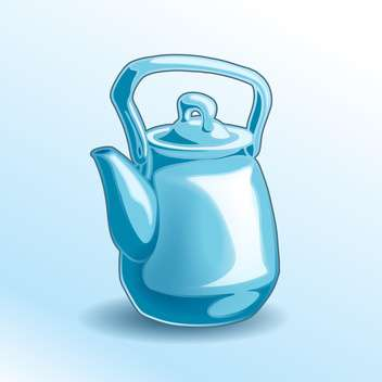 Vector illustration of iron blue teapot on blue background - vector gratuit #125921