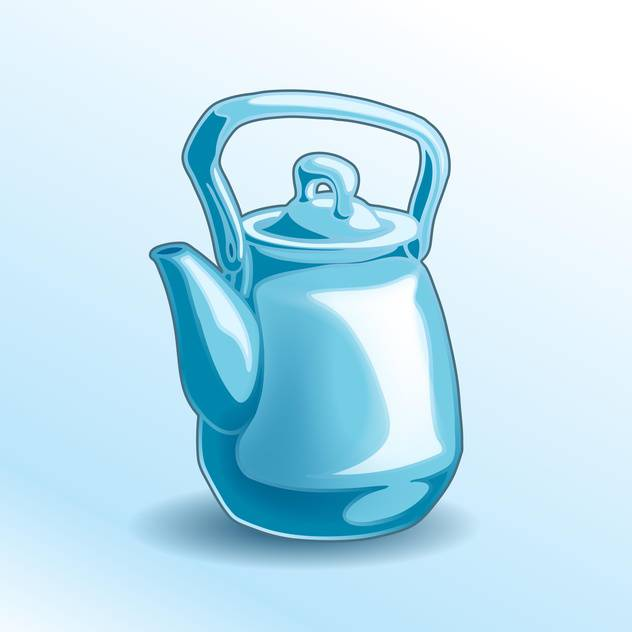 Vector illustration of iron blue teapot on blue background - бесплатный vector #125921