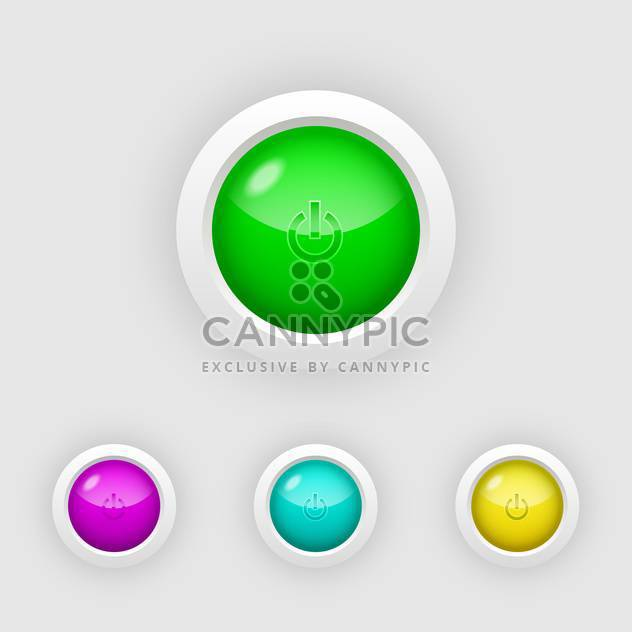Vector set of glossy round colorful power buttons on white background - Free vector #125931