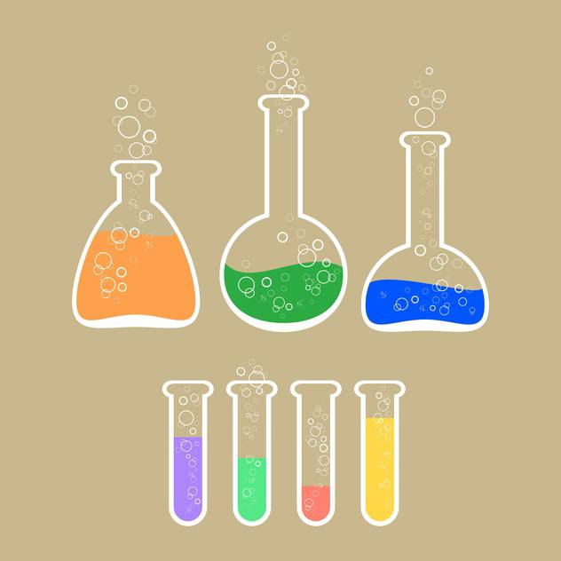 Vector illustration of laboratory apparatus with colorful solution - Free vector #125971