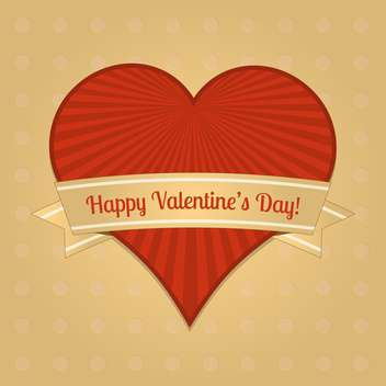 valentine card with big red heart and text place - vector gratuit #126041