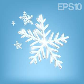 Vector illustration of white snowflakes on blue background - vector gratuit #126091