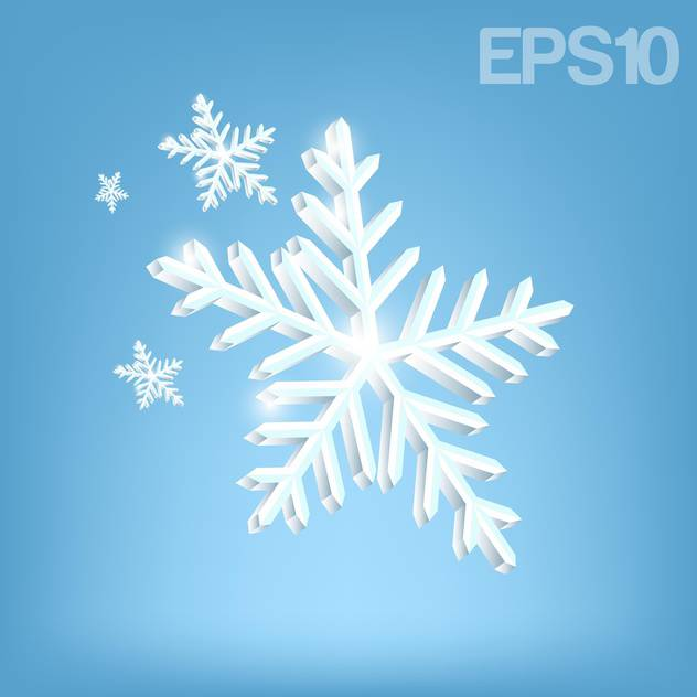 Vector illustration of white snowflakes on blue background - vector #126091 gratis