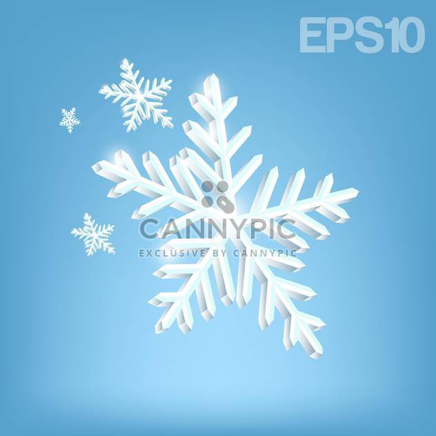Vector illustration of white snowflakes on blue background - Free vector #126091