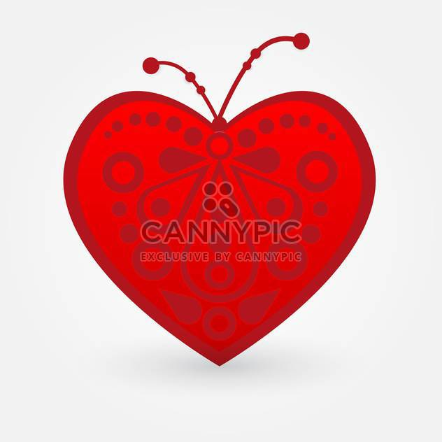 Vector illustration of art red heart on white background - Free vector #126101