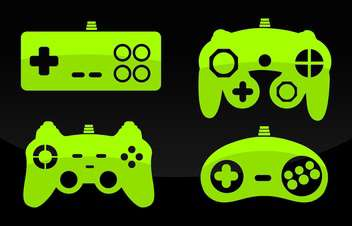 Vector illustration of green color gamepad joysticks on black background - vector gratuit #126131