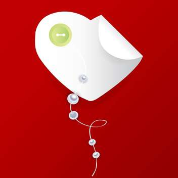 Vector white heart with button and pearls on red background - Free vector #126151