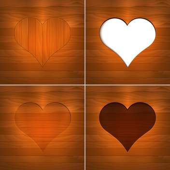 Vector illustration of hearts on brown wooden background with text place - vector gratuit #126181