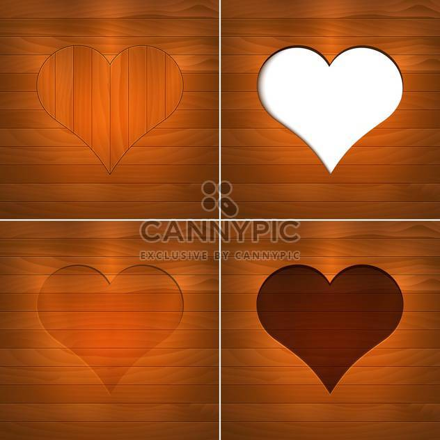 Vector illustration of hearts on brown wooden background with text place - Free vector #126181