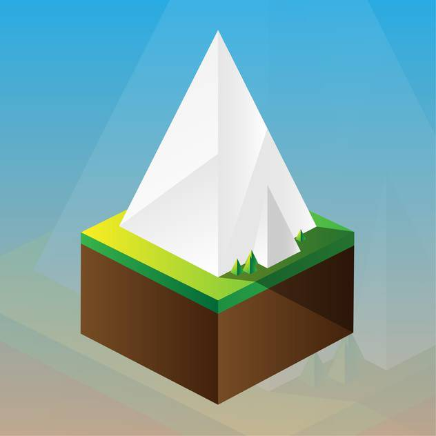 square maquette of mountains on blue background - vector gratuit #126191