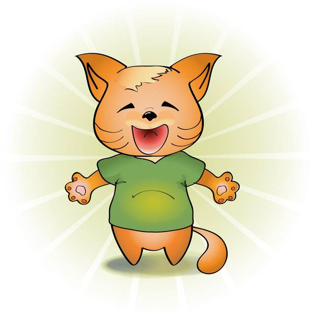Vector illustration of laughing orange cartoon cat on white background - vector gratuit #126261
