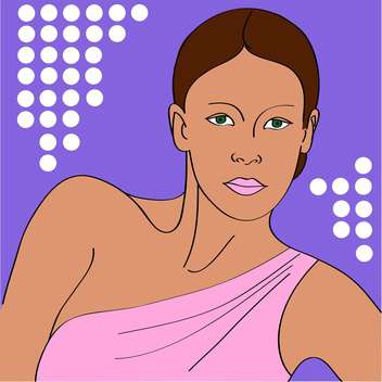 vector portrait of woman in pink dress on purple background - vector gratuit #126271
