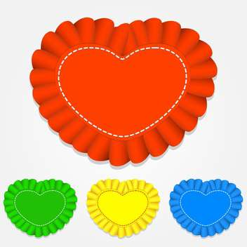 Vector set of color heart shaped labels on white background - vector gratuit #126291