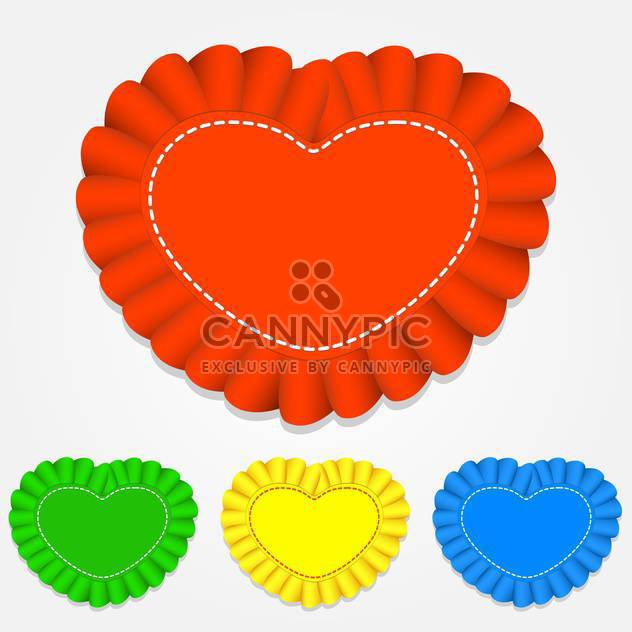 Vector set of color heart shaped labels on white background - Free vector #126291