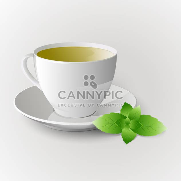 Vector cup of green tea on white background - Free vector #126311