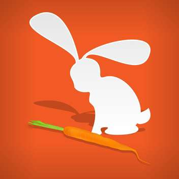 Vector illustration of white fluffy rabbit with carrot on orange background - Free vector #126341