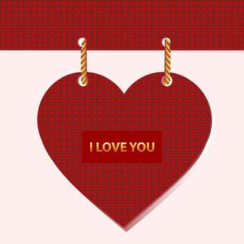 Vector valentine card with red heart and text place - vector gratuit #126381