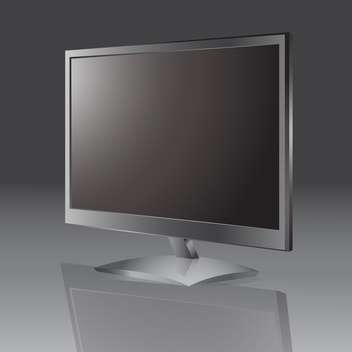 Vector illustration of lcd tv monitor with empty screen on grey background - vector gratuit #126421
