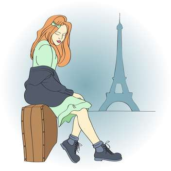 Vector illustration of beautiful woman in Paris sitting on suitcase - vector gratuit #126441