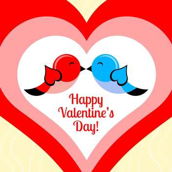 Vector card for Valentine's day with birds and hearts - vector gratuit #126481