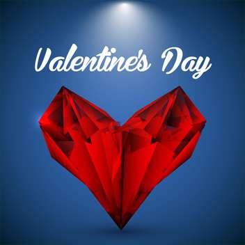 Vector red crystalline heart on greeting card for Valentine's day - vector gratuit #126561