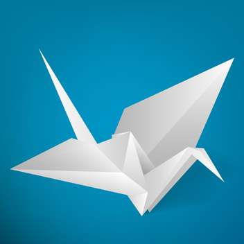 Vector illustration of paper origami stork on blue background - vector gratuit #126571