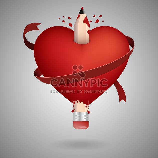 Vector illustration of valentine card with pencil in red heart on grey background - Free vector #126581