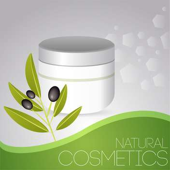 Vector illustration of beauty background with olive cosmetic cream - бесплатный vector #126611