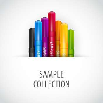 Vector illustration of colorful marker pens on white background - vector gratuit #126631