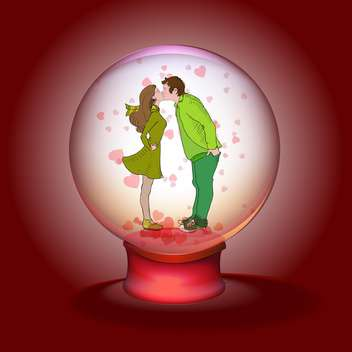 kissing couple in magic ball on red background - Kostenloses vector #126671